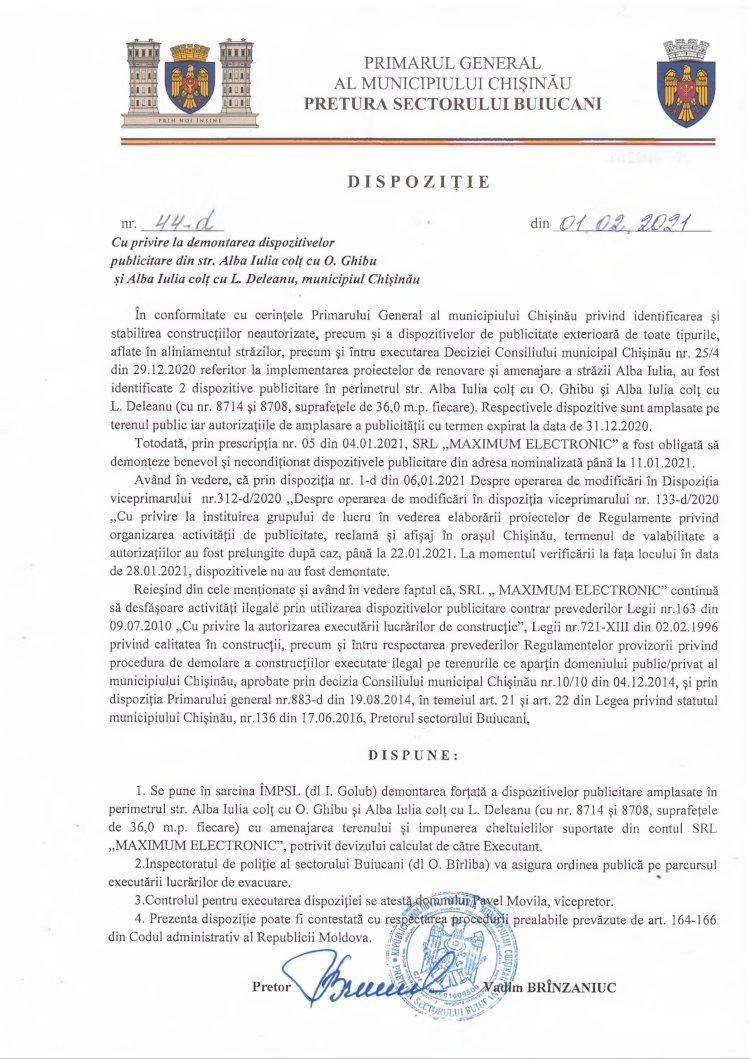 Dispoziție nr 44-d din 01.02.2021 cu privire la demontarea dispozitivelor publicitare din str. Alba-Iulia colț cu str. O. Ghibu și str. Alba Iulia colț cu str. L. Deleanu, mun. Chișinău