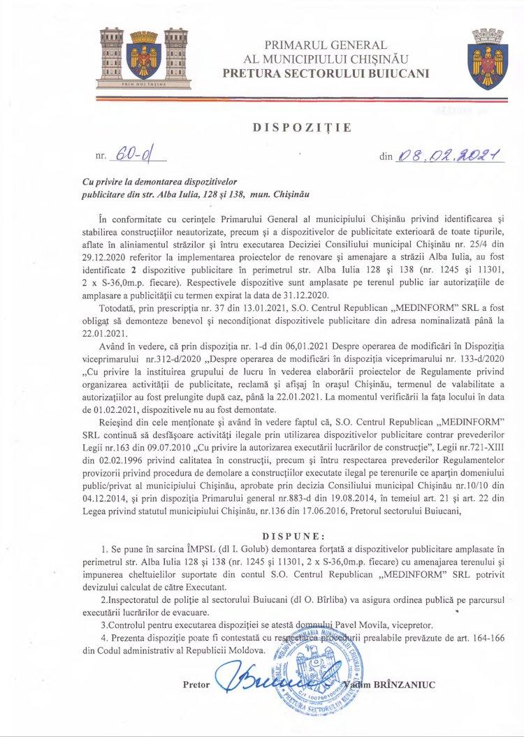 Dispoziție nr 60-d din 08.02.2021 cu privire la demontarea dispozitivelor publicitare din str. Alba-Iulia, 128 şi 138, mun. Chişinău