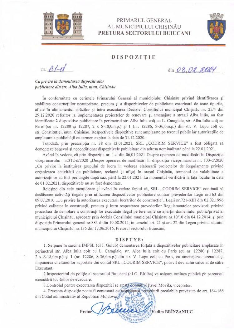 Dispoziție nr 61-d din 08.02.2021 cu privire la demontarea dispozitivelor publicitare din str. Alba-Iulia, mun. Chişinău