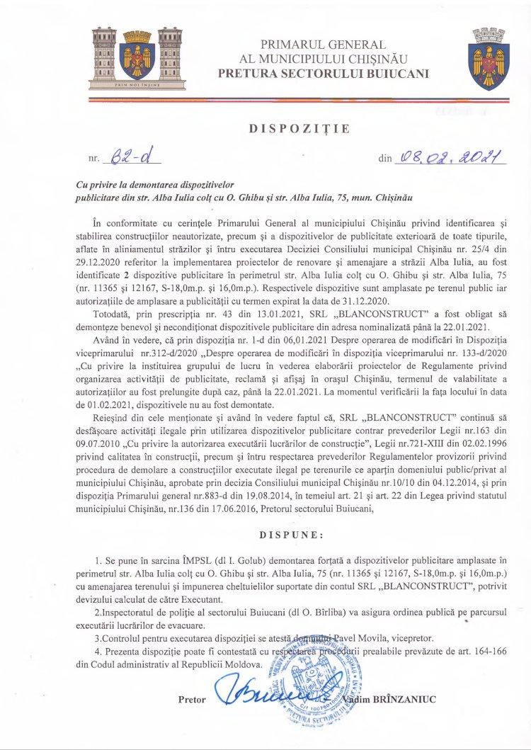Dispoziție nr 62-d din 08.02.2021 cu privire la demontarea dispozitivelor publicitare din str. Alba-Iulia colţ cu O. Ghibu şi str. Alba Iulia, 75, mun. Chişinău