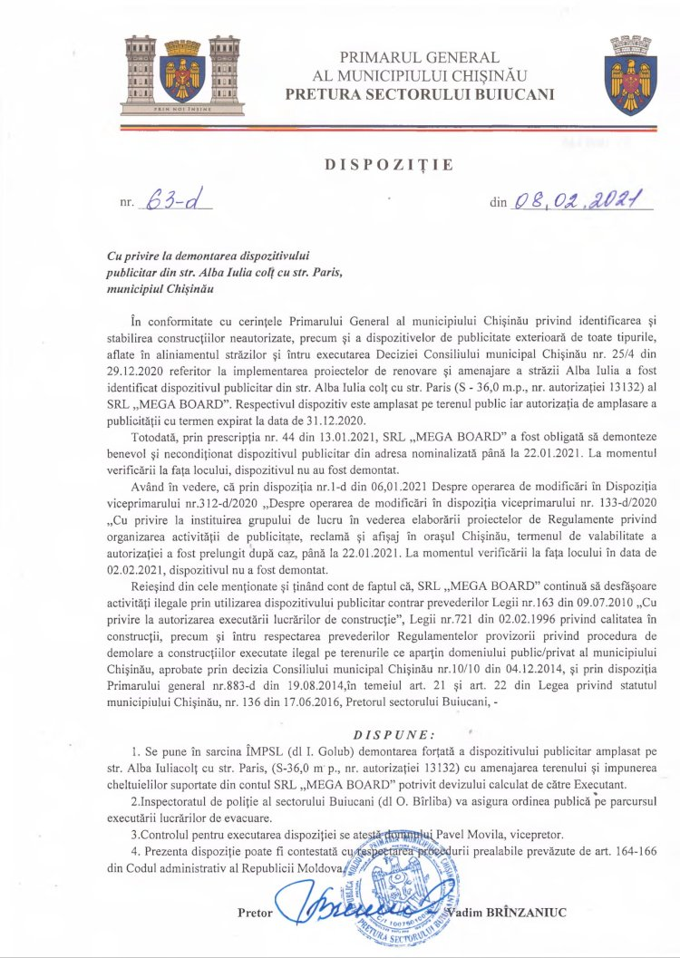 Dispoziție nr 63-d din 08.02.2021 cu privire la demontarea dispozitivului publicitar din str. Alba-Iulia colţ cu str. Paris, municipiul Chişinău