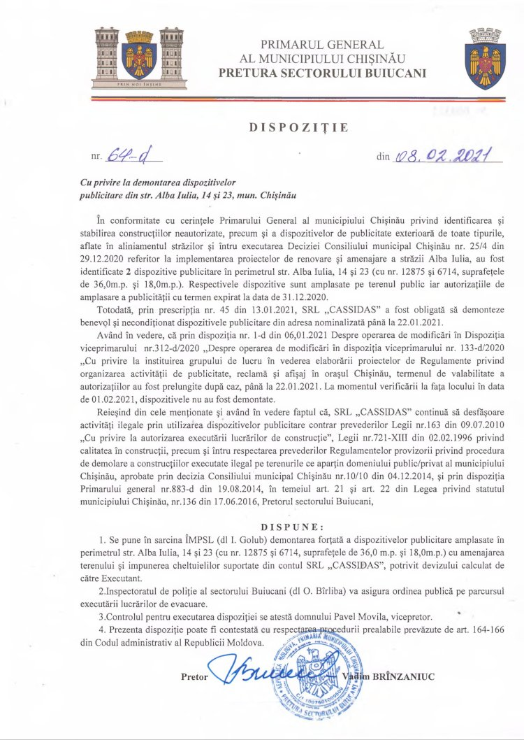 Dispoziție nr 64-d din 08.02.2021 cu privire la demontarea dispozitivelor publicitare din str. Alba-Iulia, 14 şi 23, mun. Chişinău