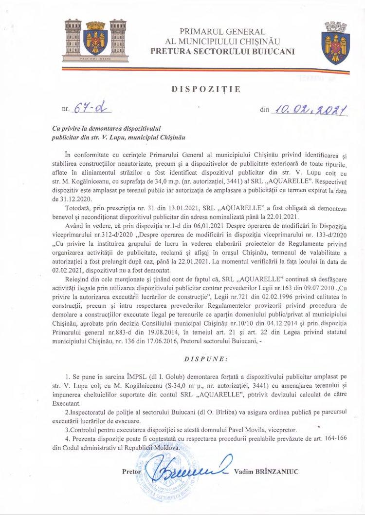 Dispoziție nr 67-d din 10.02.2021 cu privire la demontarea dispozitivului publicitar din str. V. Lupu, mun. Chișinău