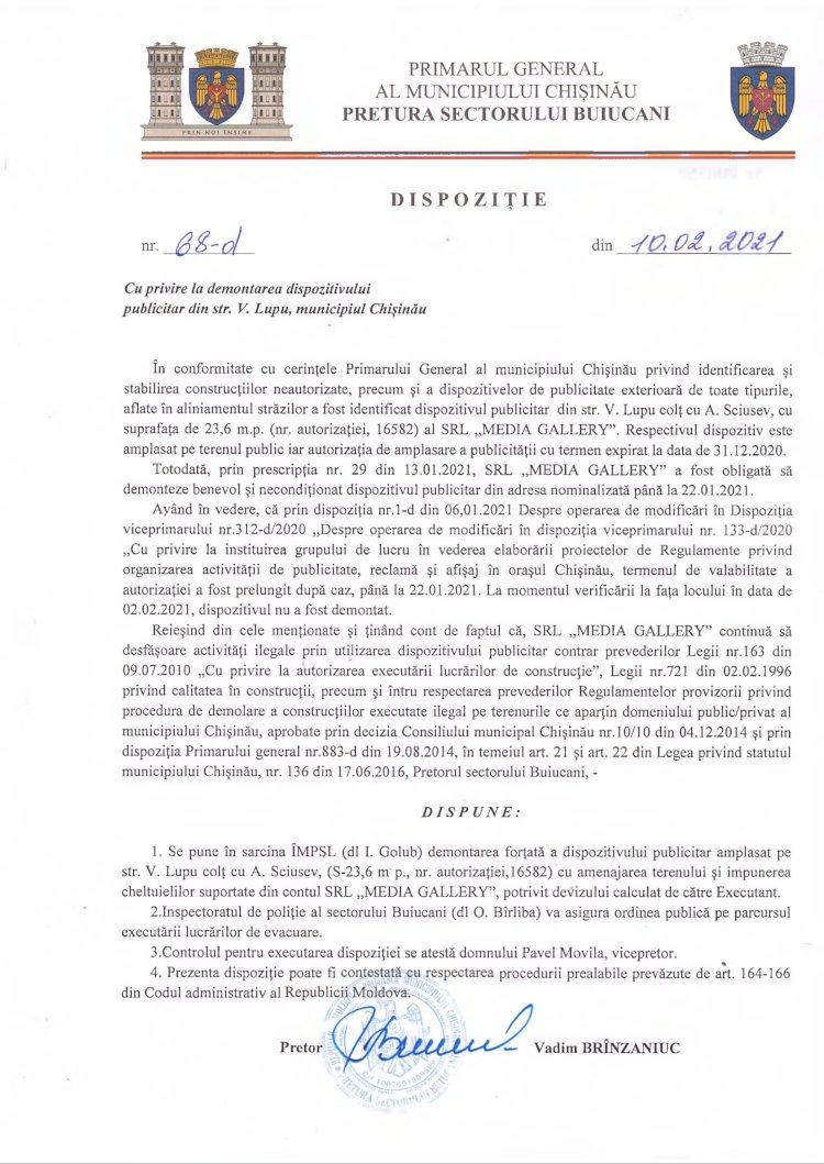 Dispoziție nr 68-d din 10.02.2021 cu privire la demontarea dispozitivului publicitar din str. V. Lupu, mun. Chișinău