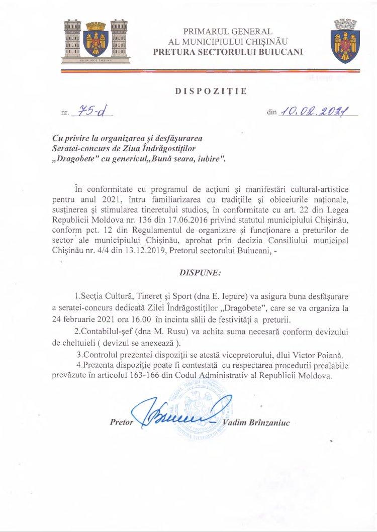 """Dispoziție 75-d din 10.02.2021 cu privire la organizarea și desfășurarea Seratei-concurs de Ziua Îndrăgostiților """"Dragobete"""" cu genericul """"Bună seara, iubire"""""""