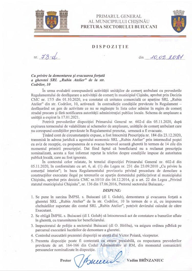 """Dispoziție nr 78-d din 10.02.2021 cu privire la demontarea și evacuarea forțată a gheretei SRL """"Rubin Atelier"""" de la str. Codrilor, 10"""