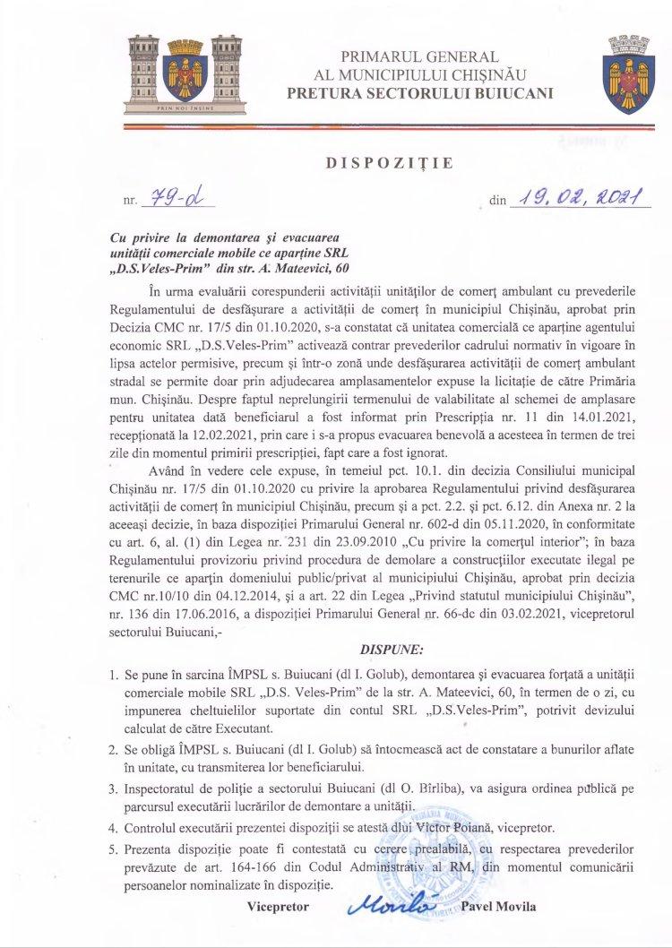 """Dispoziție nr 79-d din 19.02.2021 cu privire la demontarea și evacuarea unității comerciale mobile ce aparține SRL """"D.S. Veles-Prim"""" din str. A. Mateevici, 60"""