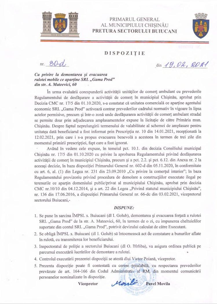 """Dispoziție nr 80-d din 19.02.2021 cu privire la demontarea și evacuarea rulotei mobile ce aparține SRL """"Gama Prod"""" din str. A.Mateevici, 60"""