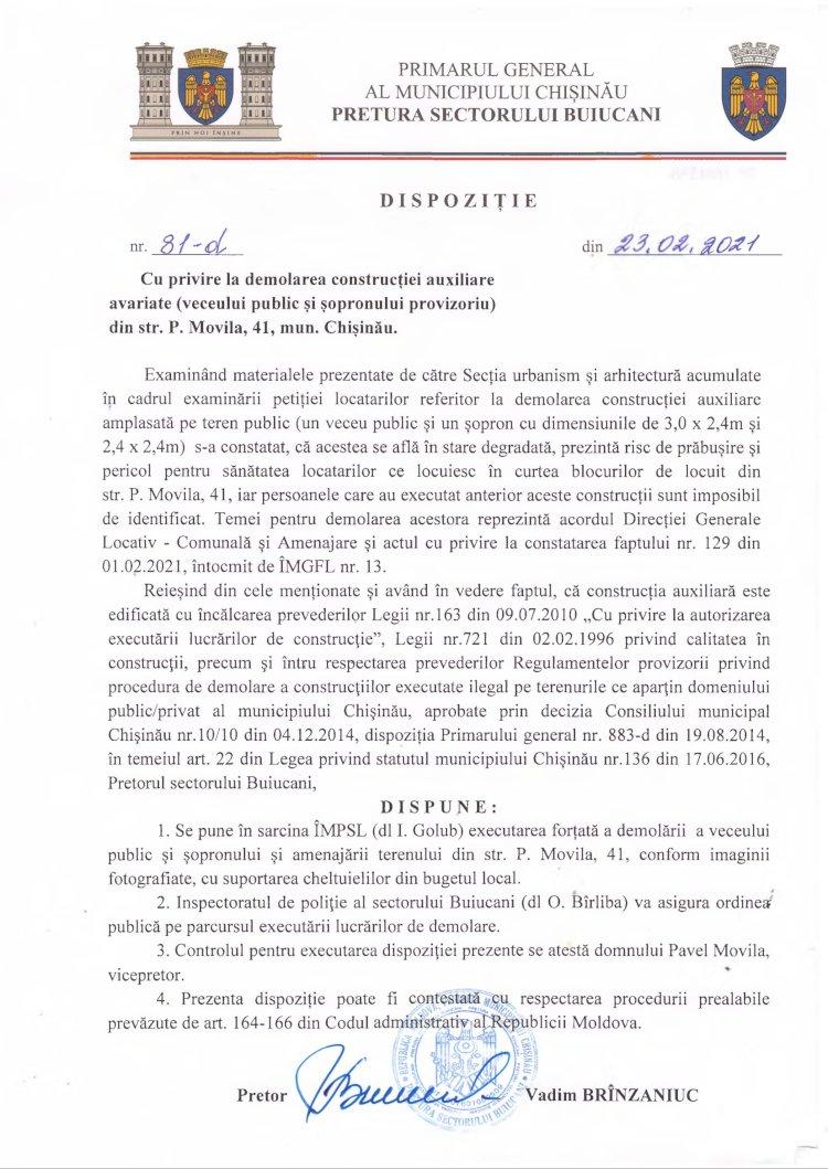 Dispoziție nr 81-d din 23.02.2021 cu privire la demolarea construcției auxiliare avariate (veceului public și șopronului provizoriu) din str. P. Movila, 41, mun. Chișinău