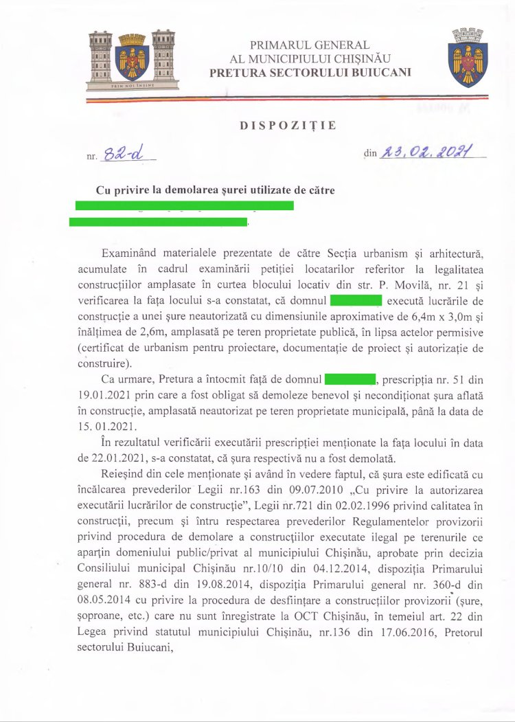 Dispoziție nr 82-d din 23.02.2021 cu privire la demolarea șurei din str. P. Movilă, 21, mun. Chișinău