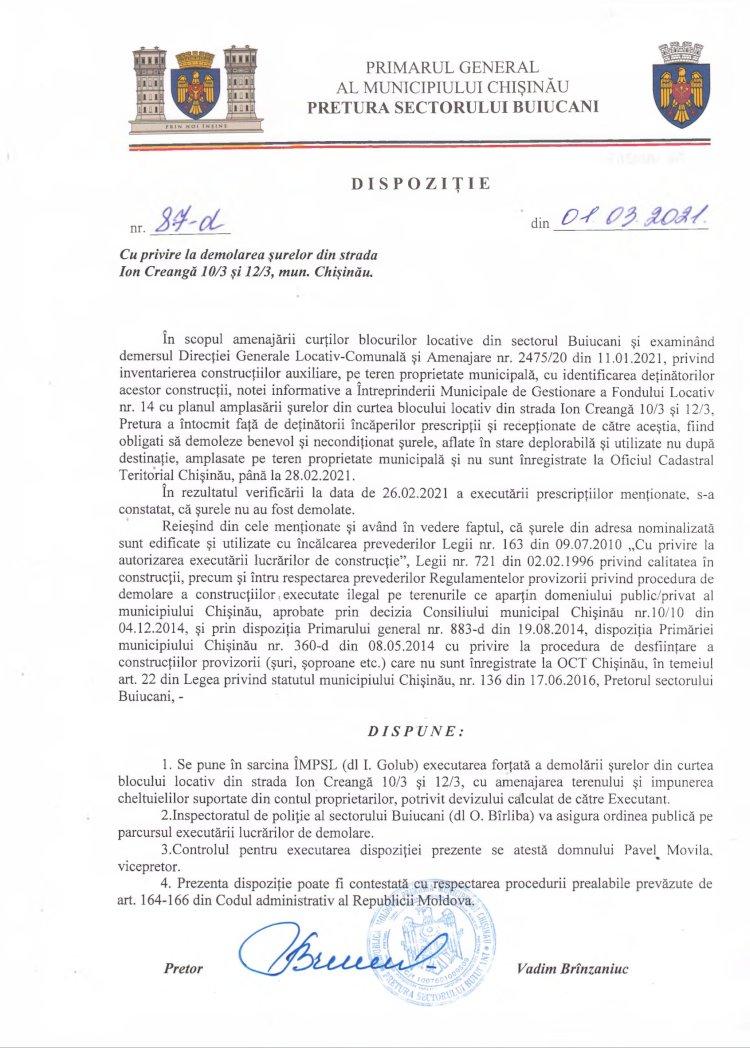 Dispoziție nr 87-d din 01.03.2021 cu privire la demolarea şurelor din str. I. Creangă 10/3 şi 12/3, mun. Chişinău
