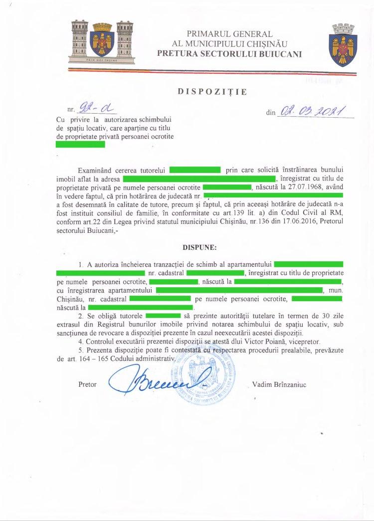Dispoziție nr 92-d din 02.03.2021 cu privire la autorizarea schimbului de spaţiu locativ, care aparţine cu titlu de proprietate privată persoanei ocrotite