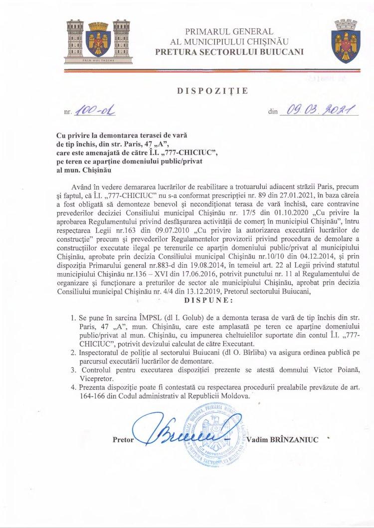"""Dispoziție nr 100-d din 09.03.2021 cu privire Ia demontarea terasei de vară de tip închis, din str. Paris, 47 """"A"""", care este amenajată de către Î.I. """"777-CHICIUC"""", pe teren ce aparţine domeniului public/privat al mun. Chişinău"""