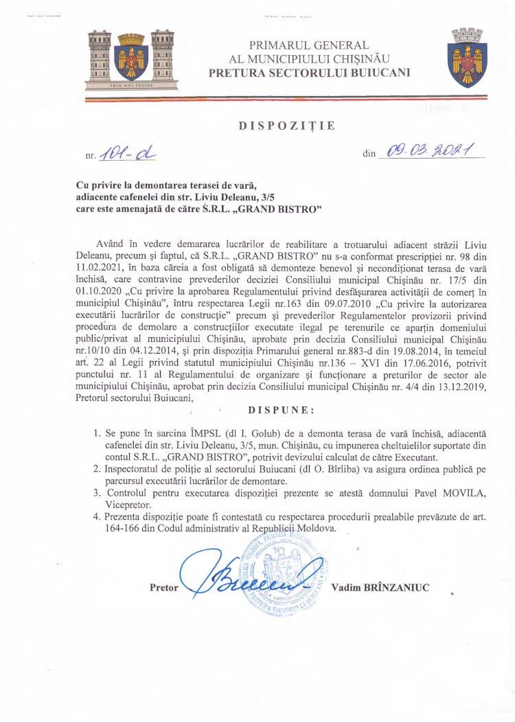 """Dispoziție nr 101-d din 09.03.2021 cu privire la demontarea terasei de vară, adiacente cafenelei din str. Liviu Deleanu, 3/5 care este amenajată de către S.R.L. """"GRAND BISTRO"""""""