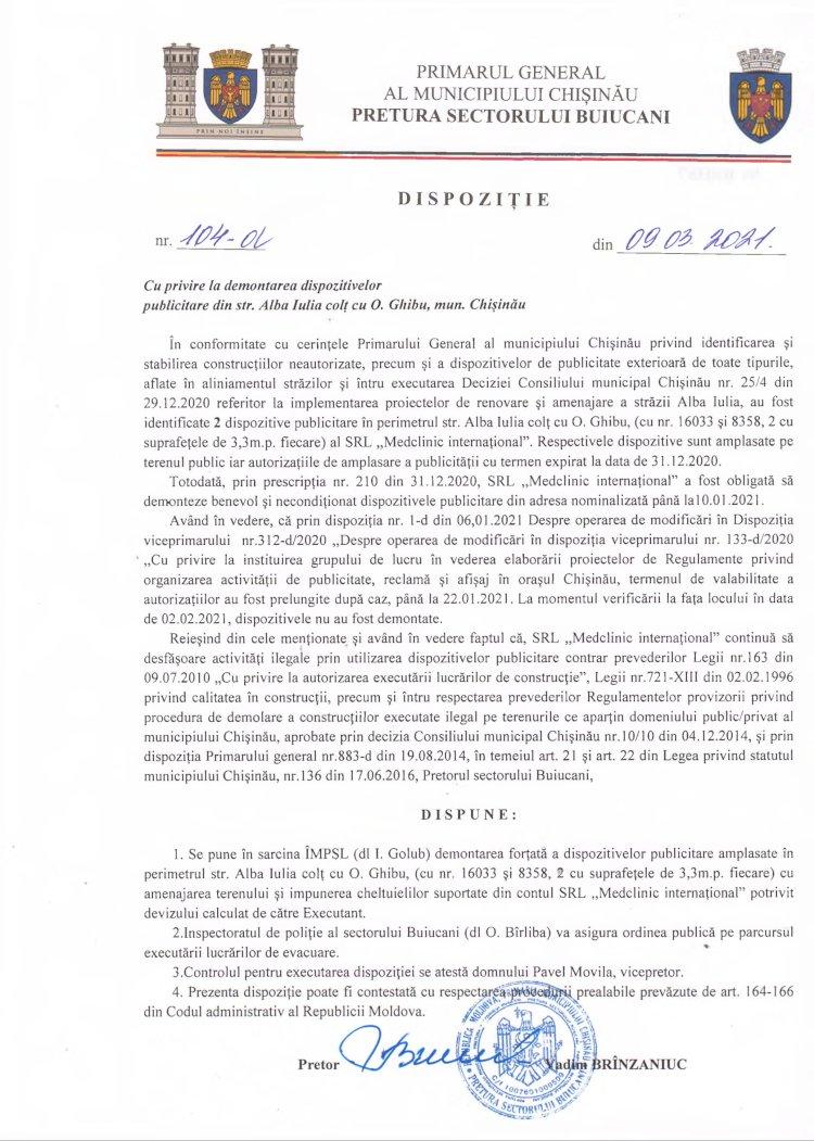 Dispoziție nr 104-d din 09.03.2021 cu privire la demontarea dispozitivelor publicitare din str. Alba Iulia colţ cu str. O. Ghibu, mun. Chişinău