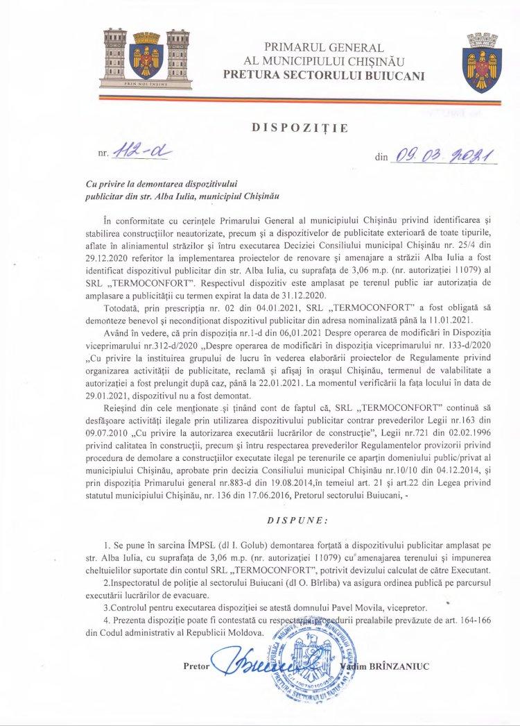 Dispoziție nr 112-d din 09.03.2021 cu privire la demontarea dispozitivului publicitar din str. Alba-Iulia, municipiul Chişinău