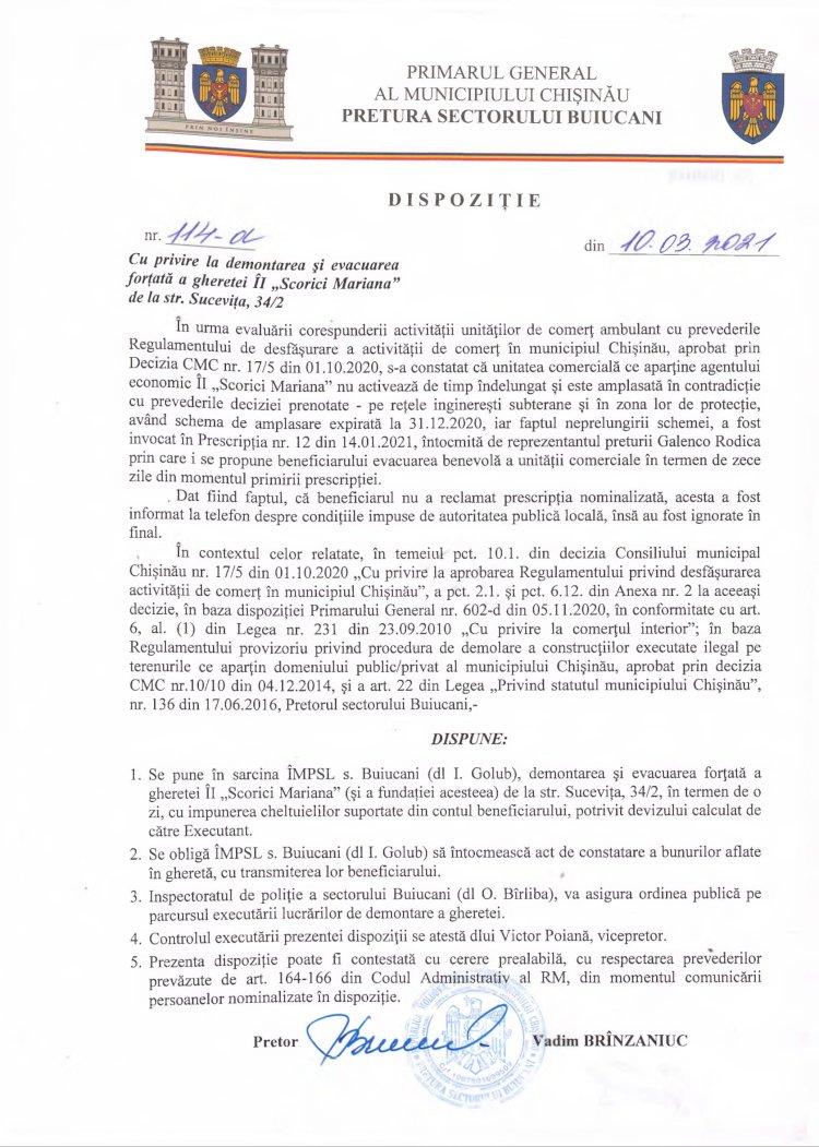 """Dispoziție nr 114-d din 10.03.2021 cu privire la demontarea şi evacuarea forţată a gheretei ÎI """"Scorici Mariana"""" de la str. Suceviţa, 34/2"""