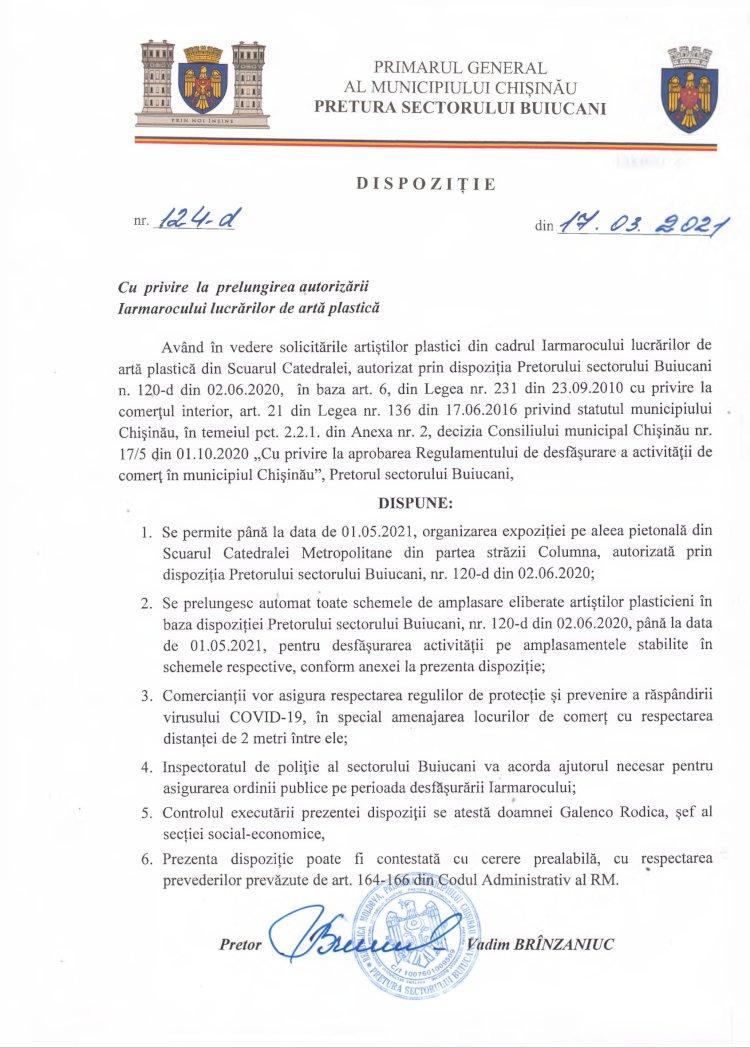 Dispoziție nr 124-d din 17.03.2021 cu privire la prelungirea autorizării Iarmarocului lucrărilor de artă plastică