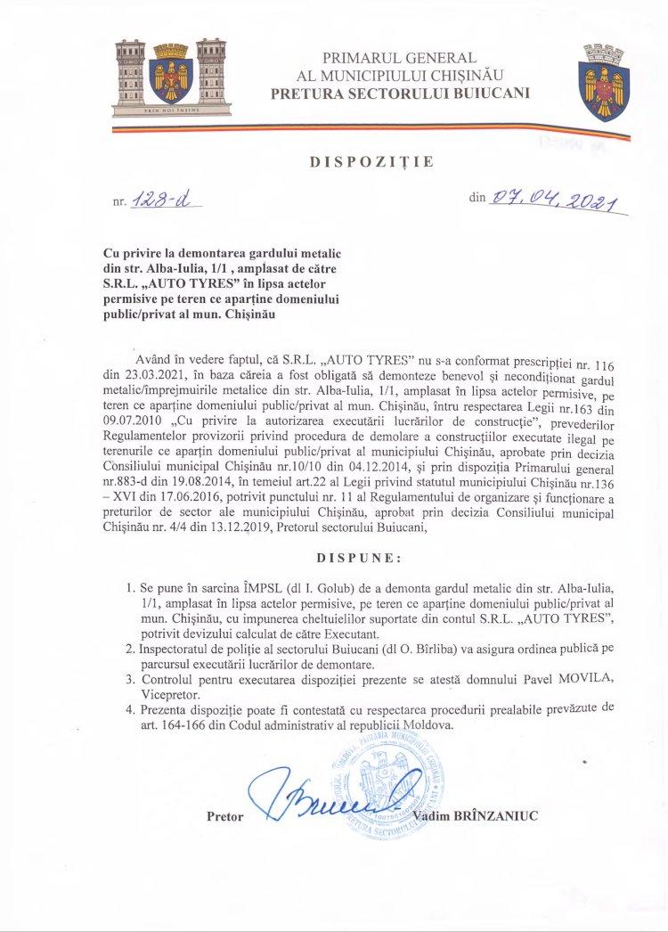 """Dispoziție nr 128-d din 07.04.2021 cu privire la demontarea gardului metalic din str. Alba-Iulia, 1/1, amplasat de către S.R.L. """"AUTO TYRES"""" în lipsa actelor permisive pe teren ce aparţine domeniului public/privat al mun. Chişinău"""