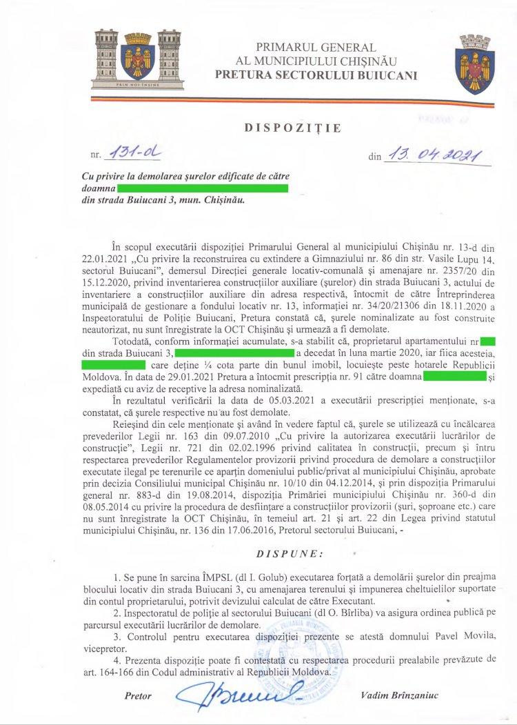 Dispoziție nr 131-d din13.04.2021 cu privire la demolarea șurelor din str. Buiucani, 3, mun. Chișinău