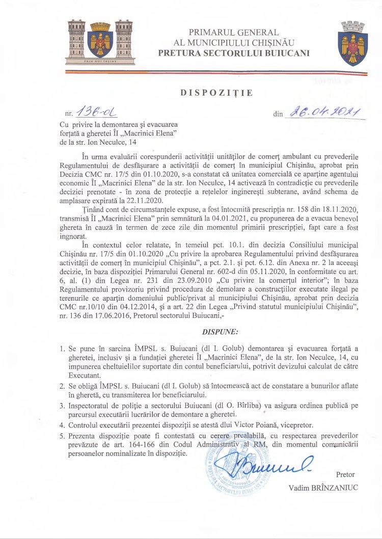 """Dispoziție nr 136-d din 26.04.2021 cu privire la demontarea și evacuarea forțată a gheretei ÎI """"Macrinici Elena"""" de la str. I. Neculce, 14"""