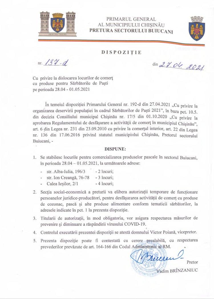 Dispoziție nr 137-d din 27.04.2021 cu privire la dislocarea locurilor de comerț cu produse pentru Sărbătorile de Paști pe perioada 28.04-01.05.2021