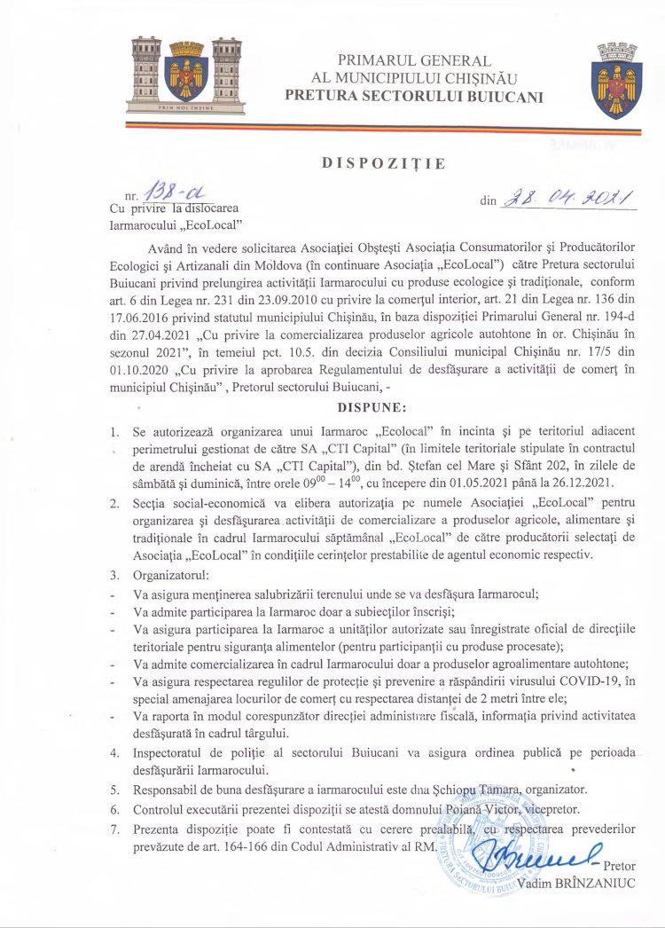 """Dispoziție nr 138-d din 28.04.2021 cu privire la dislocarea Iarmarocului """"EcoLocal"""""""
