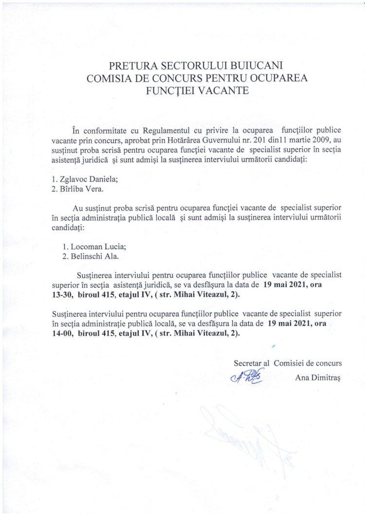 Comisia de consurs pentru ocuparea funcției vacante