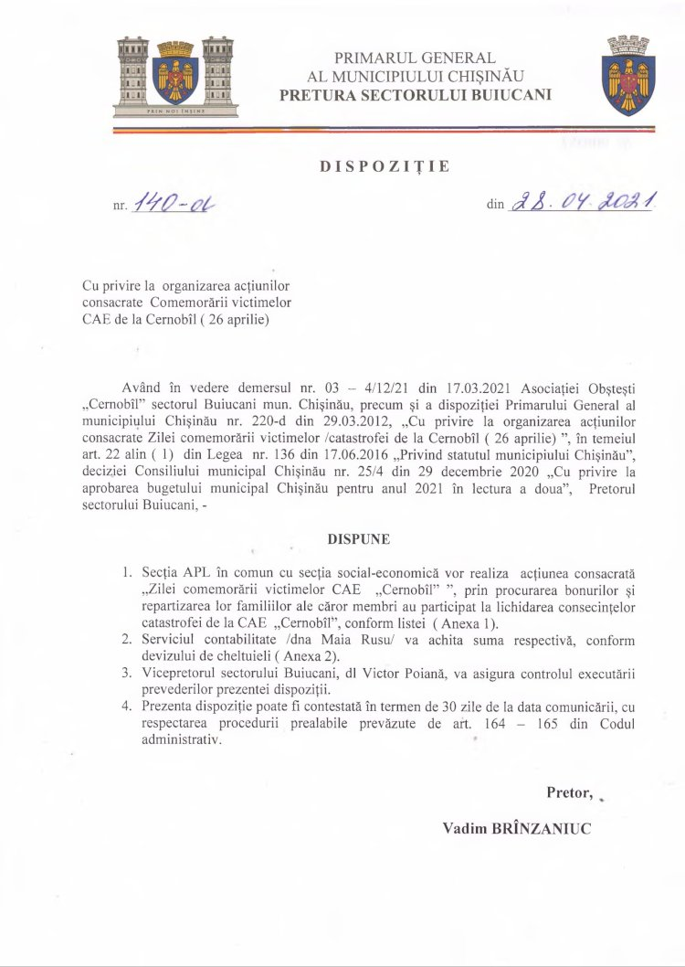Dispoziție nr 140-d din 28.04.2021 cu privire la organizarea acțiunilor consacrate Comemorării victimelor CAE de la Cernobîl (26 aprilie)