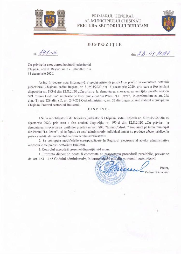 Dispoziție nr 141-d din 28.04.2021 cu privire la executarea hotărârii judecătoriei Chișinău, sediul Râșcani nr. 3-1904/2020 din 15 decembrie 2020