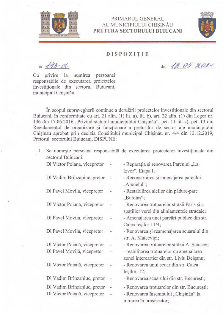 Dispoziție nr 143-d din 12.05.2021 cu privire la numirea persoanei responsabile de executarea proiectelor investiționale din sectorul Buiucani, municipiul Chișinău