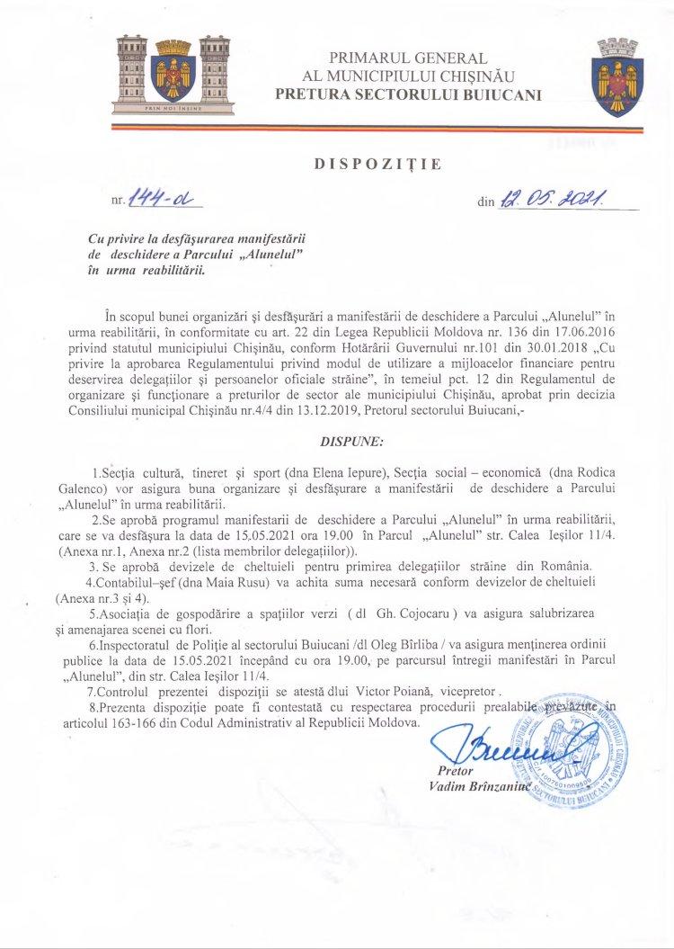 """Dispoziție nr 144-d din 12.05.2021 cu privire la desfășurarea manifestării de deschidere a Parcului """"Alunelul"""" în urma reabilitării"""