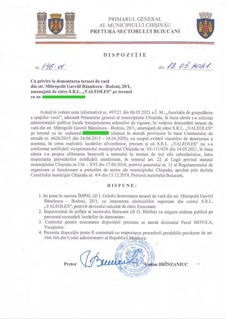 """Dispoziție nr 146-d din 18.05.2021 cu privire la demontarea terasei de vară din str. Mitropolit Gavriil Bănulescu-Bodoni, 20/1, amenajată de către SRL """"VALEOLES"""""""
