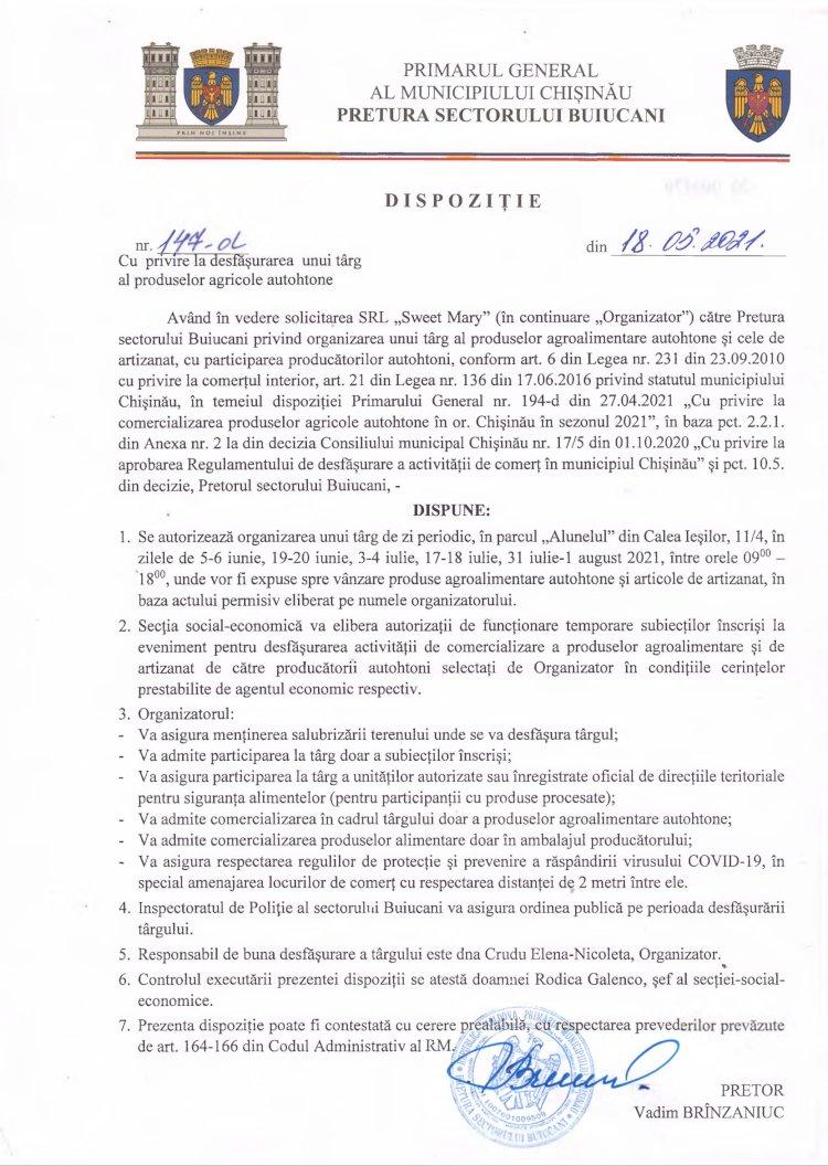Dispoziție nr 147-d din 18.05.2021 cu privire la desfășurarea unui târg al produselor agricole autohtone