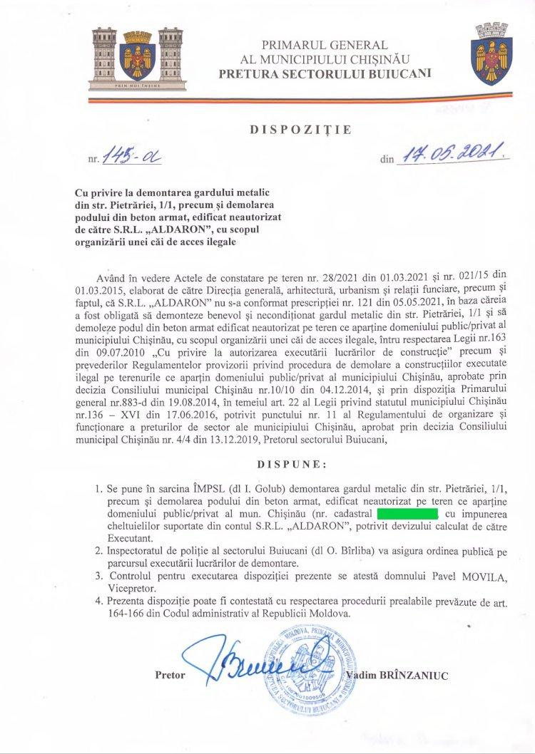 """Dispoziție nr 145-d din 17.05.2021 cu privire la demontarea gardului metalic din str. Pietrăriei, 1/1, precum și demolarea podului din beton armat, edificat neautorizat de către SRL """"ALDARON"""", cu scopul organizării unei căi de acces ilegale"""