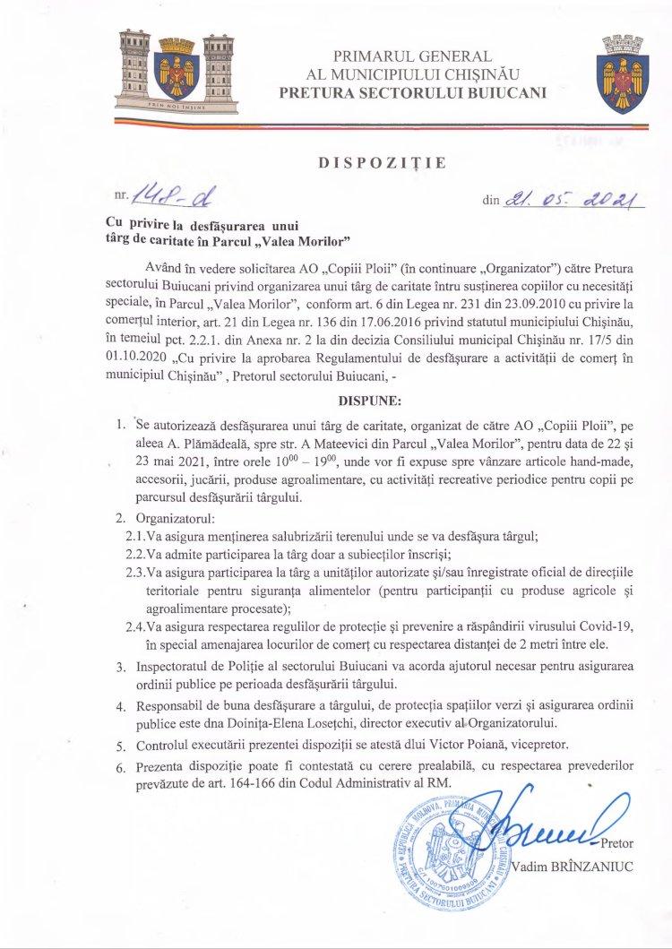 """Dispoziție nr 148-d din 21.05.2021 cu privire la desfășurarea unui târg de caritate în Parcul """"Valea Morilor"""""""