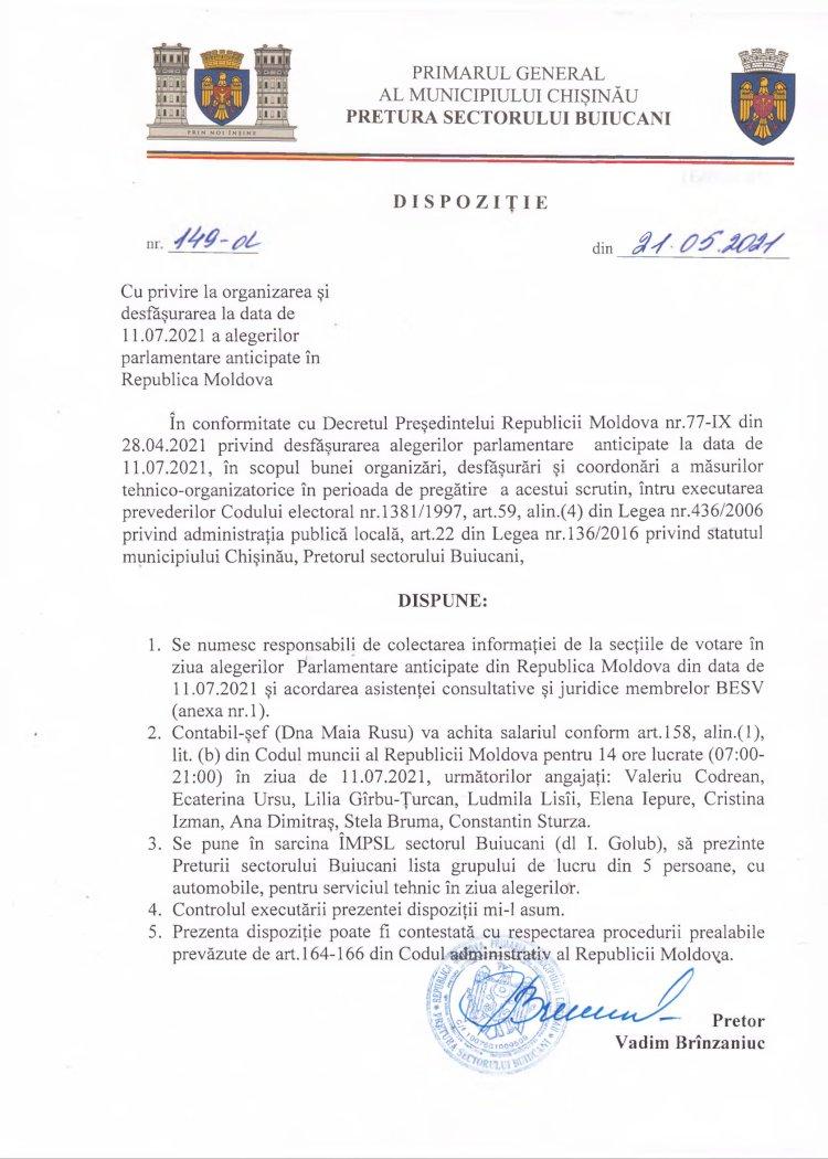 Dispoziție nr 149-d din 21.05.2021 cu privire la organizarea și desfășurarea la data de 11.07.2021 a alegerilor parlamentare anticipate în RM