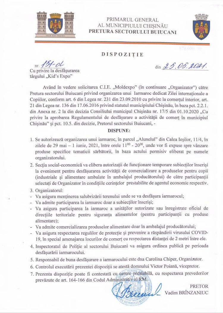 """Dispoziție nr 151-d din 25.05.2021 cu privire la desfășurarea târgului """"Kid`s Expo"""""""