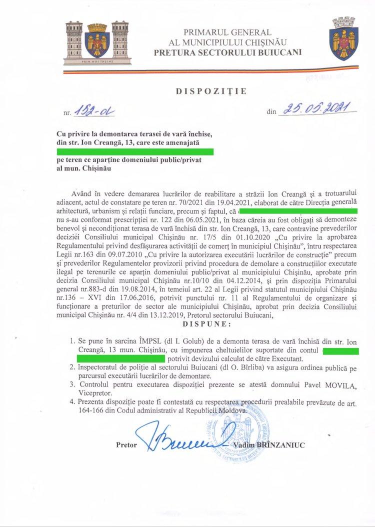 Dispoziție nr 152-d din 25.05.2021 cu privire la demontarea terasei de vară închise, din str. I. Creangă,13,  pe teren ce aparține domeniului public/privat al mun. Chișinău