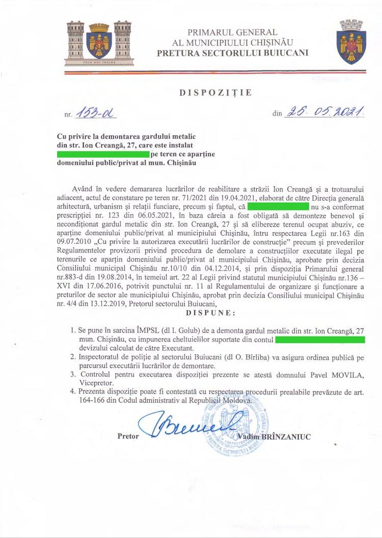 Dispoziție nr 153-d din 25.05.2021 cu privire la demontarea gardului metalic din str. I. Creangă,27, pe teren ce aparține domeniului public/privat al mun. Chișinău